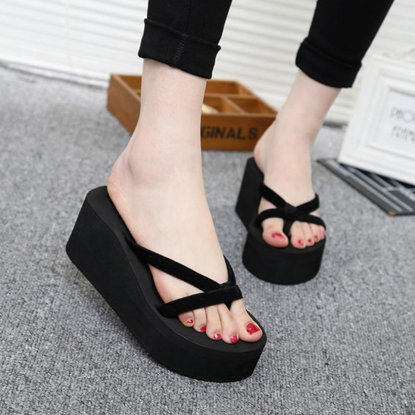 HOT Sale Platform Sandals Women High Heel Zapatillas Chinelo Shoes 2018 Summer Fashion Straped Slippers Flip Flops Black Pantufa