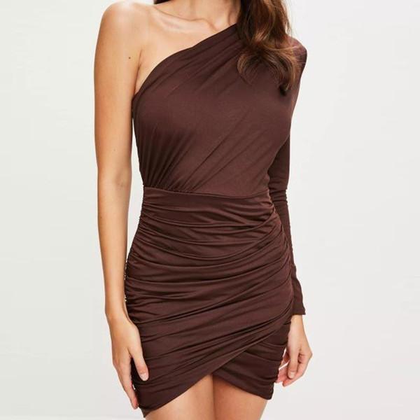 Señoras vestidos de otoño de un lado del hombro vestido de fiesta elegante de manga larga vestido casual café sólido delgado ropa de mujer