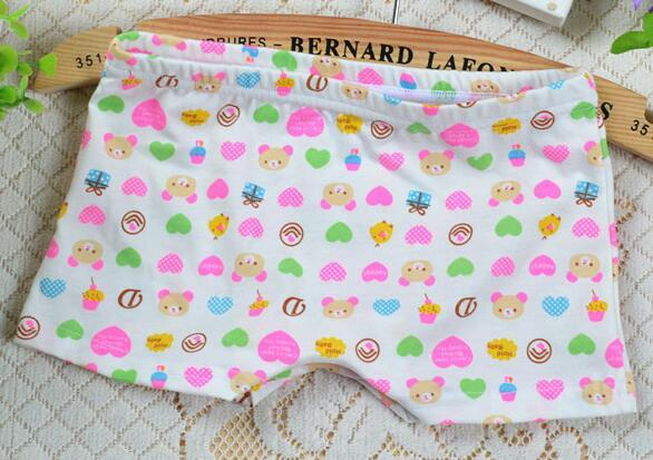 Infant Girl Boxer Cartoon Baby Panties 3 Design Bear Elephant Heart-shaped Mix Size Nice Printing Comfortable Lycra Cotton
