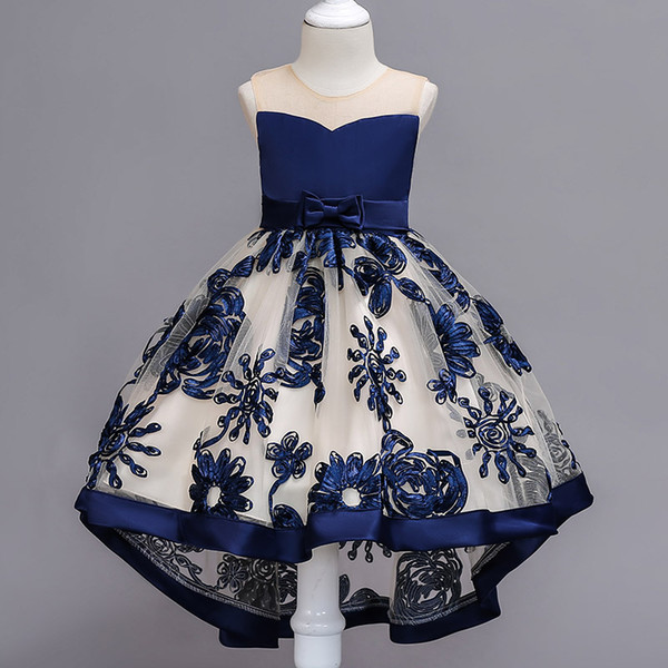 Lace Flower Girl Dress Romantic Lace Puffy 2018 for Weddings Tulle Ball Gown Girl Christmas Party Communion Dress Pageant Gown