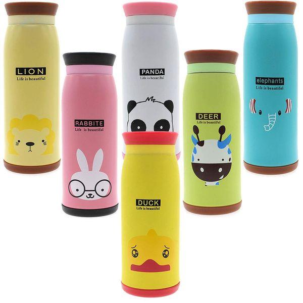 2pc Stainless Steel Cute Cartoon Animal Duck Deer Elephant Rabbit Panda Lion Thermos Travel Mug Vacuum Cup Bottle 500ml