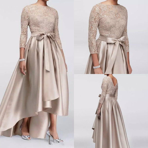 Chic High Low Mother Of The Bride Dresses Lace Sequined Long Sleeves A Line Satin Plus Size Mother's Dress Evening Wear For Weddings