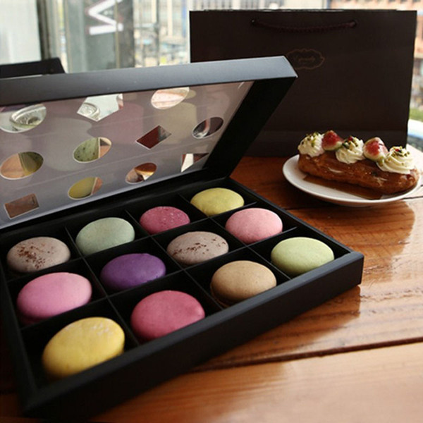 Open Window 12 Macaron Box Bakery Box for Biscuits Cookie Mooncake Packaging Paper Boxes Free Shipping QW7467