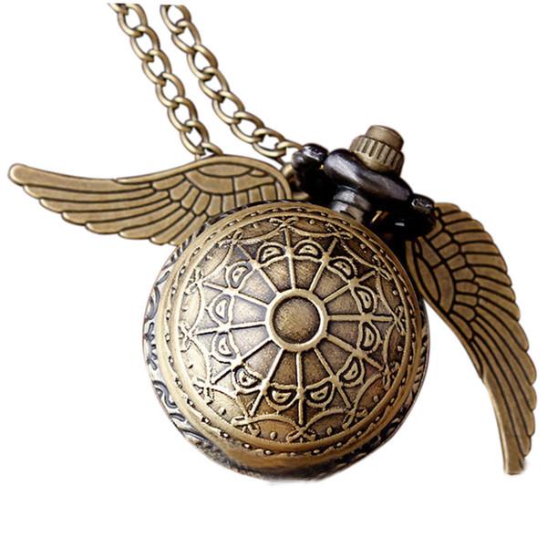 Harry Potter Necklace Pocket Watch Ball Shape Retro Bronze Wing Metal Quartz Fob Vintage Clock Chain Pendant For Women Men Gift