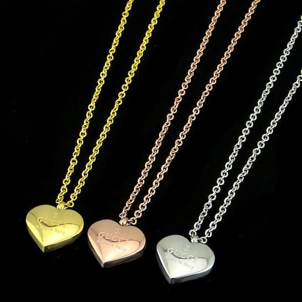 Ünlü marka En kaliteli 316L Titanyum çelik kolye yılan G kolye ile birçok renkler emaye kalp şekli moda takı