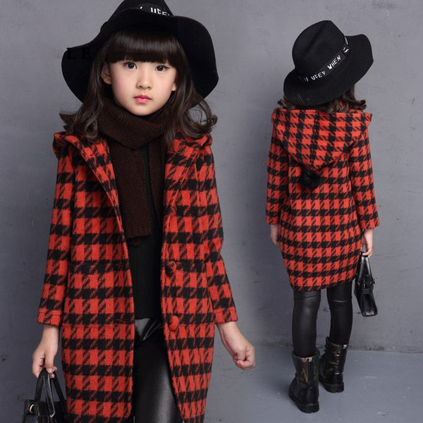 2018  Girls Autumn Spring Plaid Outerwear Children Princess Trench Coat Girls Lovely School Fashion Hooded Long Sleeve Coat