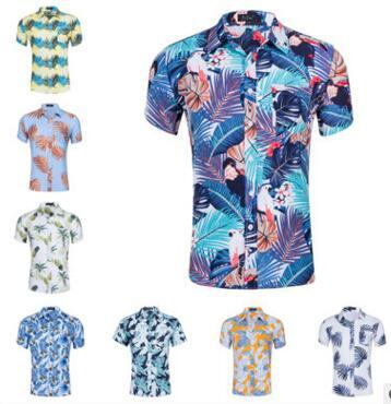 best selling 27 Designs!!! T-shirt men Summer Beach Short Sleeve Cotton Tropical Style holiday Floral Print Tees polos shirts short-sleeved polos shirts