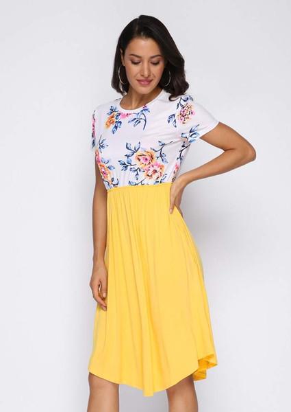 Новая мода девушки одеваются женщины Цветочные сращивания карманные повседневные платья партии Femme сексуальные элегантные вечерние платья