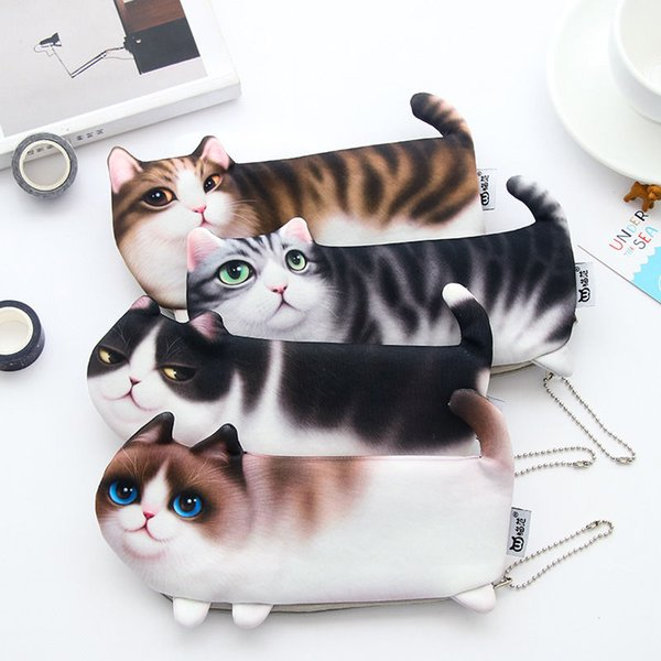 Osmond Cute Cosmetic Cases 3D Cat Cosmetic Bag Women Makeup Cases Canvas Pencil Bag For Child Travel Storage Organizers Cartoon