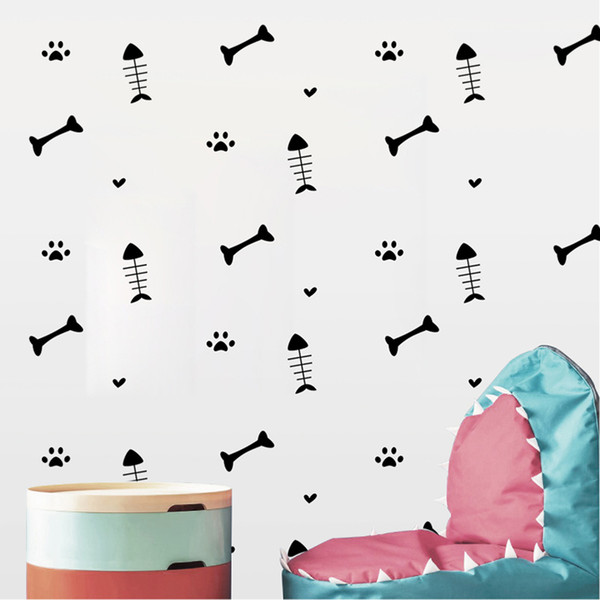 Creative Funny Cartoon Fish bone Wall Stickers Cat Dog Paws Vinyl Decals Furniture Cabinets Kids Room DIY Home Decoration