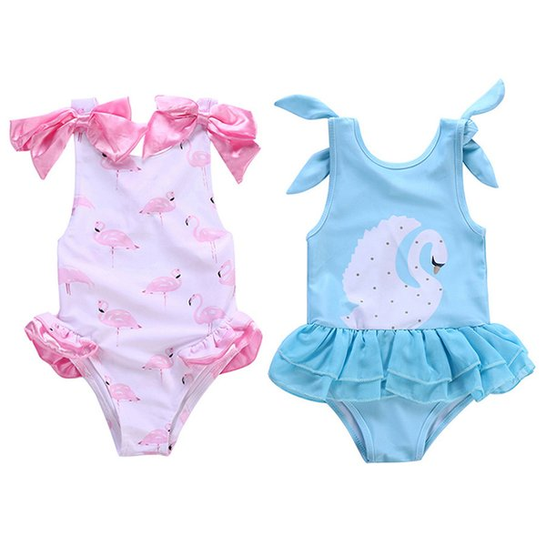 top popular Flamingo Swimsuit Swan Swimwear for 1-5T Girls One-piece Swimming Clothes Printed Design Bow Kids Piece Swimsuit 2020
