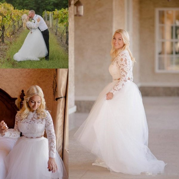 High Low Wedding Dresses with Long Sleeve 2018 Modest Two Pieces Plus Size Lace Tutu Jewel Country Style Boho Wedding Gown