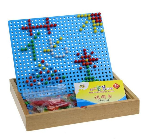 Creative Mosaic Mushroom Nails Pegboard Kids Children Wooden Educational Puzzles Toys