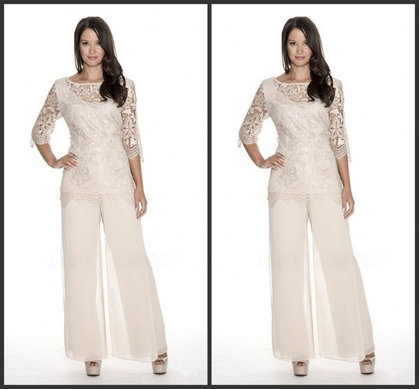 Hohe Qualität Lace Mutter der Braut Hose Anzüge Sheer Bateau Neck Hochzeitsgast Kleid Zwei Stücke Plus Size Chiffon Mütter Bräutigam Kleider