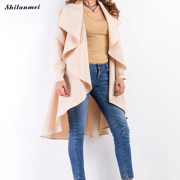 Gothic Women'S Irregular Work Wear Trench Kimono Long Sleeve Apricot Knee Length Plus Size Office Women Coat Black 5xl 4xl 3xl