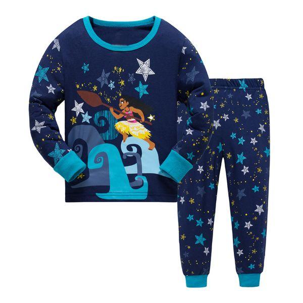 JQ-215, Sea Girl, Kinder Mädchen Langarm Pyjamas Nachtwäsche-Sets für 2-7J, 100% Baumwoll-Jersey