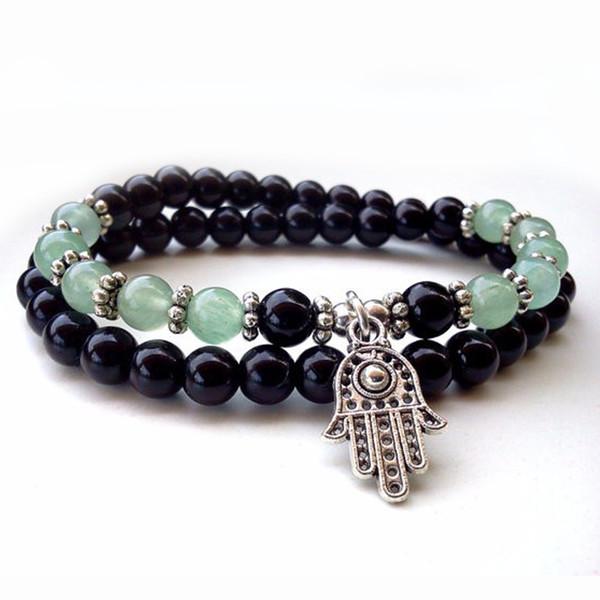 Ornaments Black Agate Bracelet 2 Circle Hand String Wish Hair