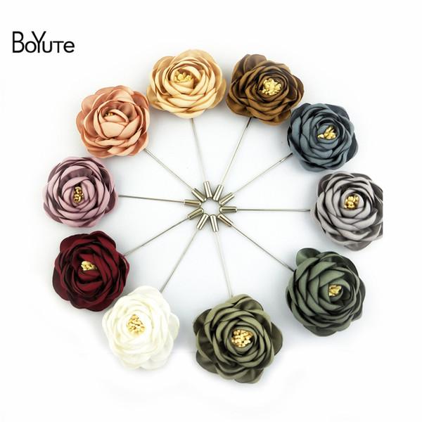 BoYuTe 10 Unids Tela de Alta Calidad Flor Rosa Broche de Solapa Pin Hombres Boutonniere de Boda Clásico 17 Colores Sólidos