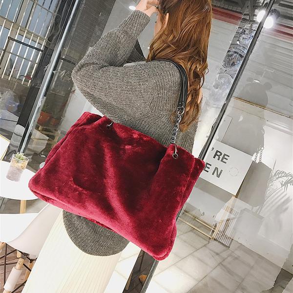 Winter New Brand Design Women Shoulder Bag Large Capacity Casual Handbag Fashion Design Plush Bags Female Ladies Hand Bag