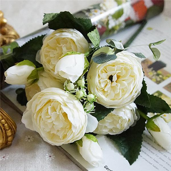 Artificial Rose Silk Flower Bouquet for Wedding Floral Arrangements and Home, Party Decorations
