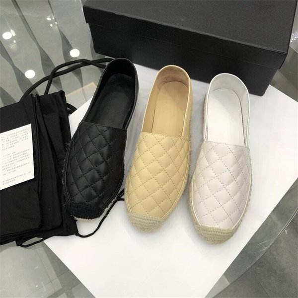Designer 2018 Luxury Women Espadrilles Lambskin Summer Spring flats loafers Girls Luxury Shoes Brand New sick sole EUR35-42 Come with Box