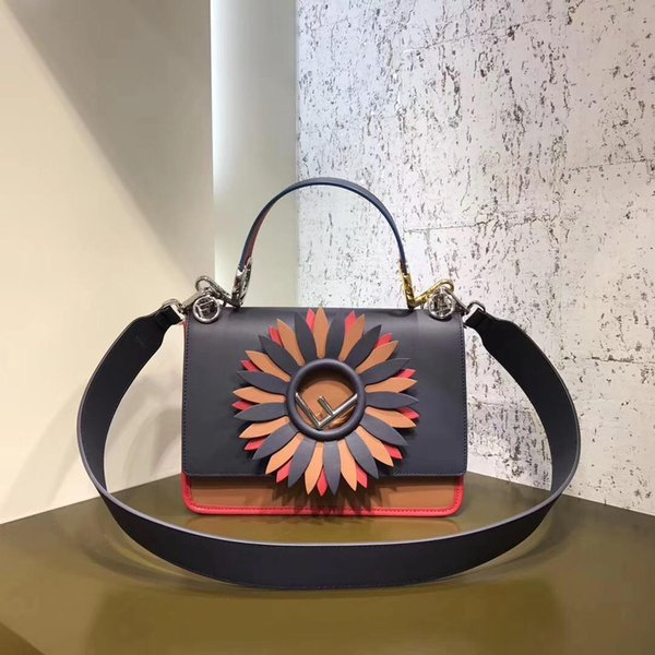 new winter imported first layer calfskin genuine leather embroidery Sunflower flower Crossbody beads Patchwork women shoulder casual handbag