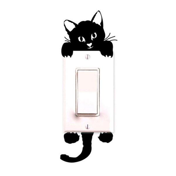 New Qualified 2018 New hot Viny Cat Wall Stickers Light Switch Art Baby Nursery bedroom Decor Levert Dropship dig6314