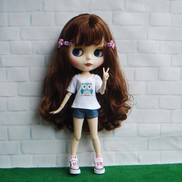 1 Set 1/6 Doll's T-shirt with Denim Shorts Clothes for Blyth Doll 8 Style