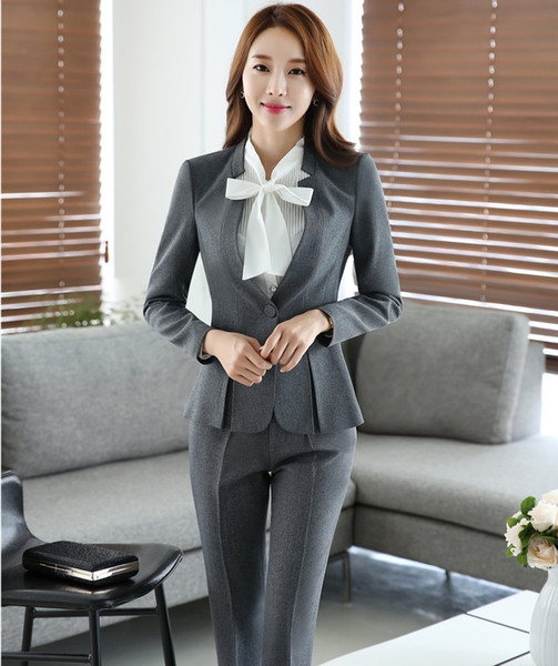 Formal Uniform Design Professional Office Work Suits With Tops And Pants Autumn Winter Office ladies Blazers Female Trousers Set