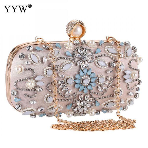 YYW Frauen Schulter Handtasche Blume Tasche Strass Kupplung Perle Mini Abendtaschen Für Frauen Tiny Bolsa Em Formato De Perola