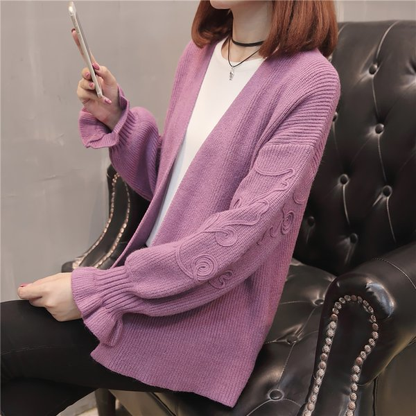 42 (zhong 1 row 2) autumn outfit Sleeve knit dress cardigan F3047 dribbling lotus leaf