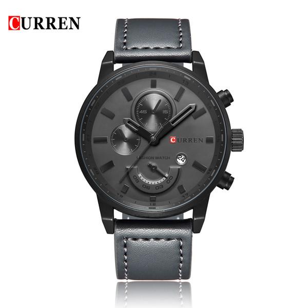 CURREN 8217 impermeable para hombre relojes de primeras marcas de lujo reloj de los hombres relojes de cuarzo de cuero de la PU hombre Casual reloj de pulsera relogio masculino
