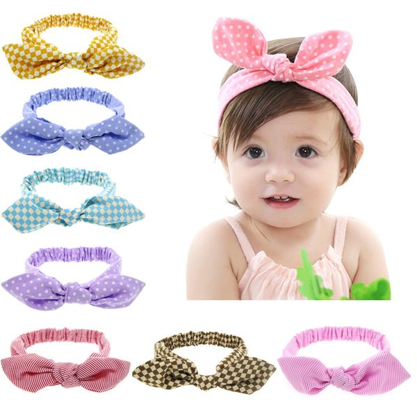Headbands da Orelha de coelho Headwear Bow Elastic Knot Bebê Acessórios Para o Cabelo Crianças Infantis Meninas bandas de cabeça Atacado 20 pçs / lote