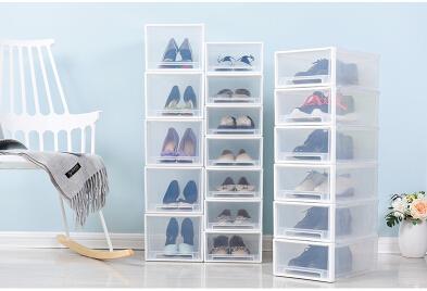Sapatos empilháveis de plástico transparente Calçados Caixa de armazenamento Criativo Gaveta Estilo Dustproof Feminino Masculino Crianças Shoes Organizer de salto alto Caso