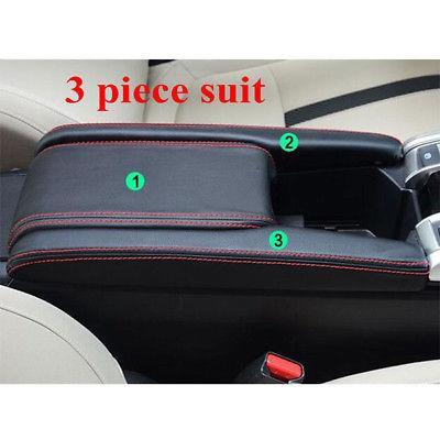 Black PU Leather Center Armrest Box Case Cover Set Fit For 2016-2018 Honda Civic