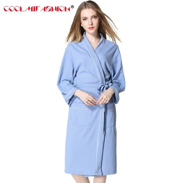 Cotton Robe femme Accappatoio Camicie lunghe larghe per le donne Bianco Rosa Plus Size Donne kimono Robe After Bath Dressing Gowns Homewear