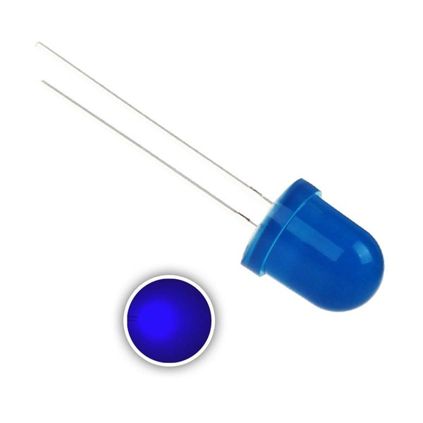 50 pcs 8mm Blue LED Diode Lights (Colord Lens Diffused Round DC 3V 20mA) Lighting Bulb Lamps Electronics Components Light Emitting Diodes