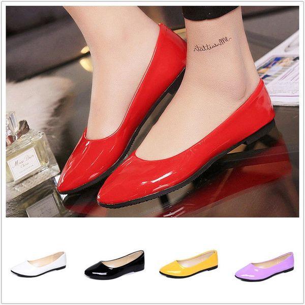 Zapatos de tacón plano al aire libre para mujer Slip casual en punta redonda Moda Tallas grandes Boda Nupcial Dama de honor Shose Moda Nuevo