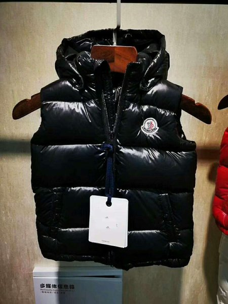 Hot sale brand M kids winter Body Warmer hooded vest UK popular gilets Jacket Warm Down Coat anorak vest parka jacket size 2T-10T