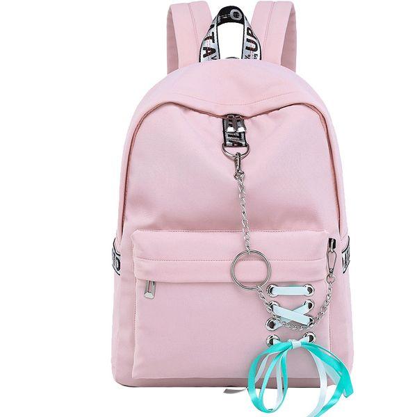 Mode Wasserdichte Nylon Frauen Rucksack Koreanische Persönlichkeit Kordelzug Bogen Ketten Design College Girls Bookbags Bagpack