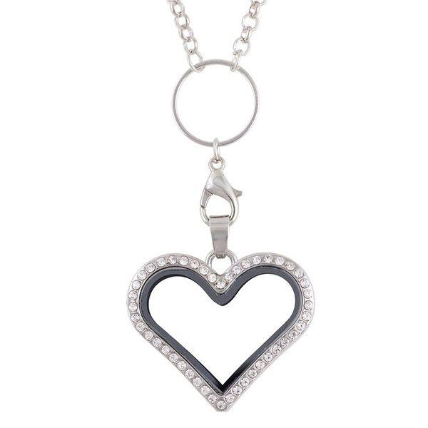 2018 Floating Heart Locket Pendant Necklace Jewelry Rhinestone Magent Glass Living Memory Heart LocGlass Living Memory Charm Locket Necklace