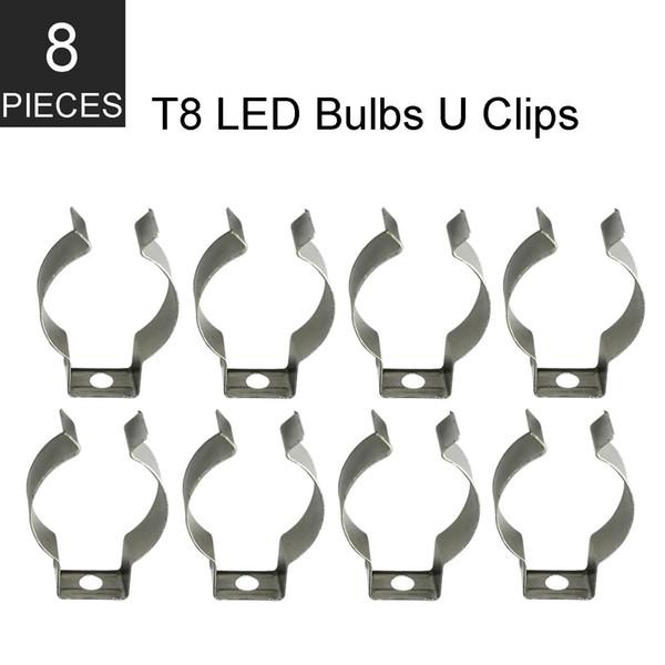 Stock In US + 8pcs T8 led tube light U Clips Tube Lamp Base Holder T8 Fluorescent Lamp Metal Socket Bracket Connector