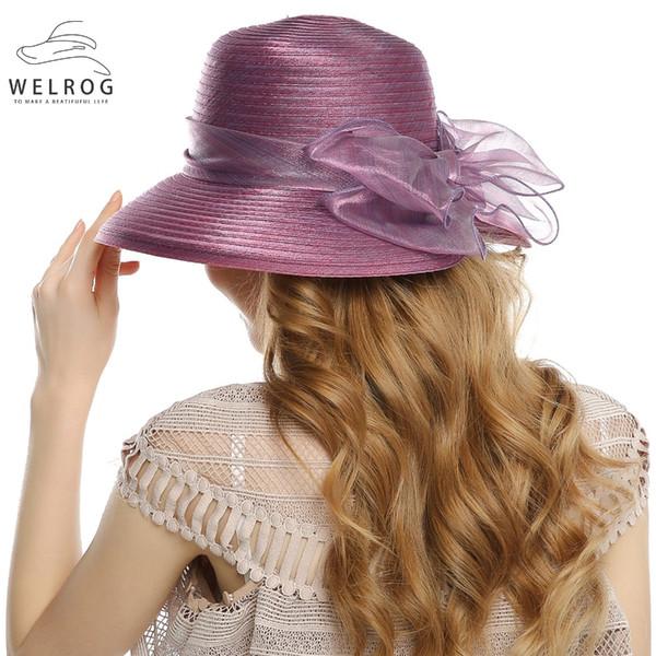 WELROG Fedoras Hats for Women 2018 Wide Brim Sun Beach Cap Lady Cloche Hat Bow Bucket Wedding Bowler Hats