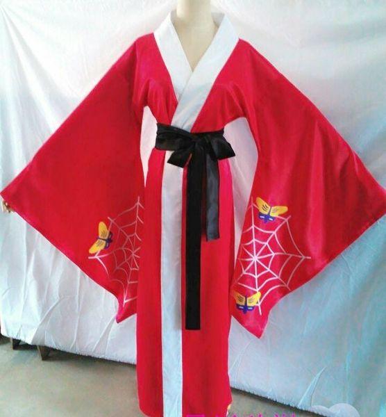 Best fabric silks and satins Black Butler Alois Trancy Cosplay Costume Anime Custom Made Red bathrobe Hand-Painted Kimono