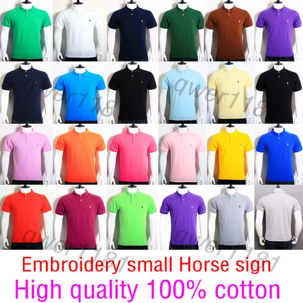 Wholesale Embroidery small Horse sign 100% Cotton MEN Summer Hot Sale Polo Shirt Brand Polos Men Short Sleeve Sport Polo 309# Man Coat