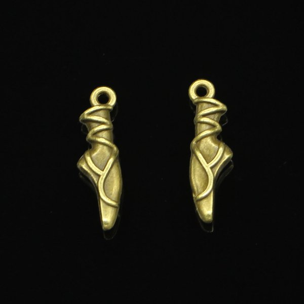 86pcs Zinc Alloy Charms Antique Bronze Plated ballet shoes Charms for Jewelry Making DIY Handmade Pendants 23*6*4mm