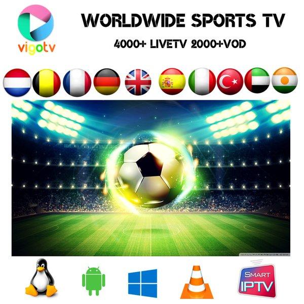 VIGO IPTV Arabisch, Türkisch, Skandinavien, Großbritannien, Brasilien Portugal Pakistan Kanäle 4000+ Live 2500+ Vod-Film EPG auf der Smart TV-Android-TV-Box