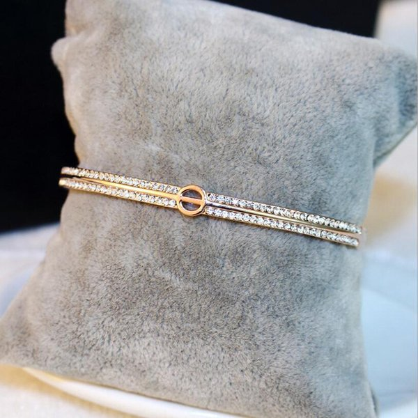 Bracelets Bangles Rose Gold Love Bangles Fashion Jewelry For Women 2017 Crystal Cuff Letter O Bracelet Pulseiras Pulseiras