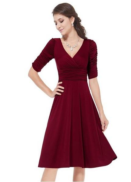 Womens clothing ladies fitted slim stretch sexy V-neck ruffles sleeve dress Formal Prom Cocktail Evening Party Dress 3728