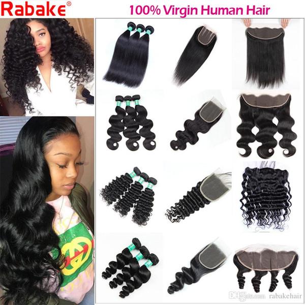Fasci di capelli vergini brasiliani con chiusura onda del corpo dritto onda profonda onda allentata Rabake 8A 100 fasci di capelli umani non trattati con frontale